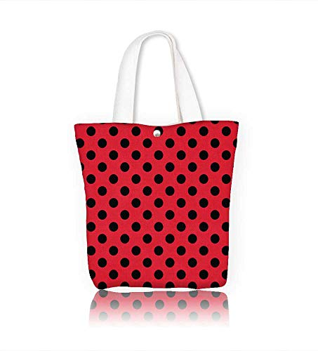 Canvas Zipper Tote Bag Red and Black Retro Vintage Pop Theme Old 60s 50s Rocker Inspired BoldPolka Dots Image Scarlet Reusable Canvas Zipper Tote Bag Printed 100% Cotton W16.5xH14xD7 INCH