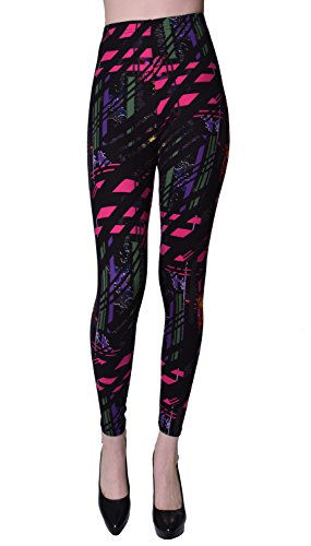 VIV Collection Regular Size Printed Leggings (Paintmarks)