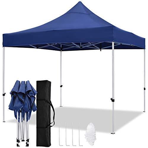 TopCamp Pop Up Canopy Tent, 10 x 10 ft Aluminum Alloy Outdoor Portable Instant Shelter for Party, Wedding, Commercial Activities with Carry Bag (Navy Blue)