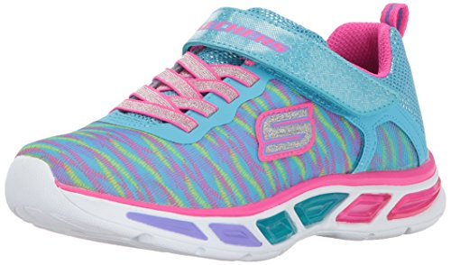 Girls Light Up Shoes (Skechers Kids Girls' Litebeams-Colorburst Sneaker, Turuoise/Multi, 2 M US Little Kid)