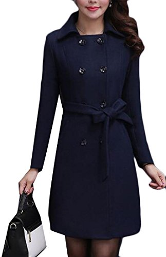 M Breasted Winter amp;S Coat Women's Blue amp;W Dark Overcoat Double Parka Wool rqHnarx