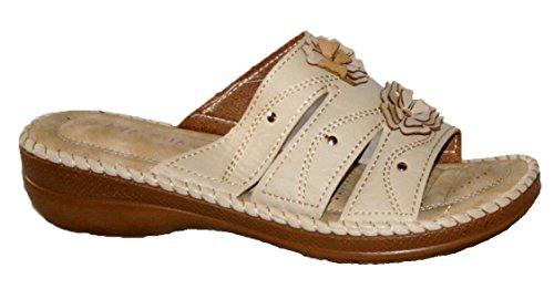 DY55 - Zapatos con correa de tobillo mujer - Beige mule
