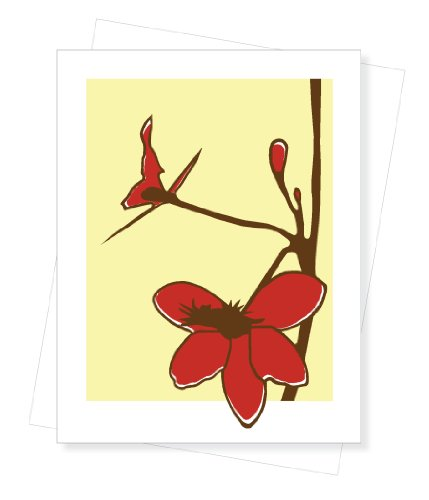 Hand Screen Printed Orchid Blank Note Card by PaperInk Studio