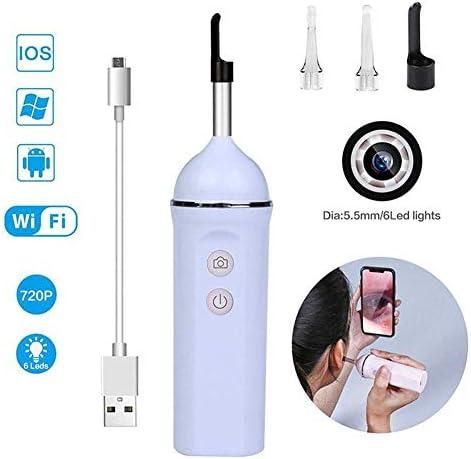 デジタル耳鏡、720P HD耳カメラワイヤレスWiFi耳内視鏡、スマートフォンおよびタブレット付き6 LEDライト付き,Purple