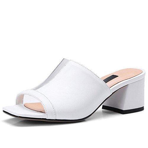 abierta Sandalias de mulas de empalme punta zapatos Blanco casuales altos zapatillas de para Zapatos mujer PVC de cuero señoras Tacones transparente de las PVC de Bombas GAOLIXIA de Sandalias Rdq4nAd