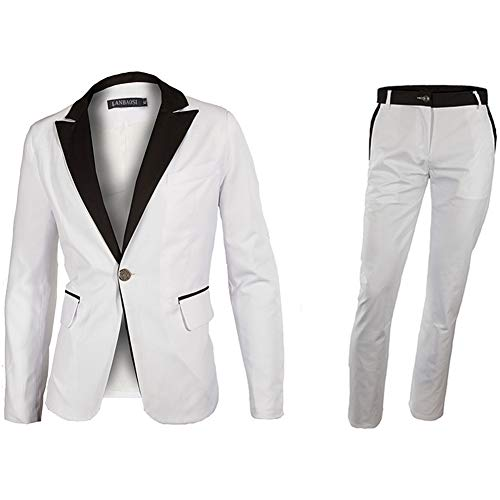 LANBAOSI Men's 1 Button White Dress Suit Jacket and Pants Sets