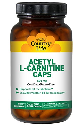 Country Life Acetyl L-Carnitine, 500 mg with B-6-240 Vegan Capsules by Country Life