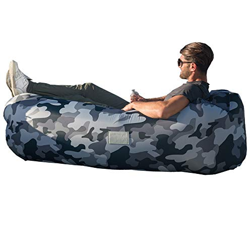 Camo Lounger - AlphaBeing Inflatable Lounger - Best Air Lounger for Travelling, Camping, Hiking - Ideal Inflatable Couch for Pool and Beach Parties - Perfect Air Chair for Picnics or Festivals (Urban CAMO)
