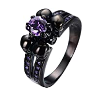 Bamos® Mother's Day Jewelry Womens Purple Amethyst Six Claws And Four skull Black Gold Wedding Rings Size 5-10