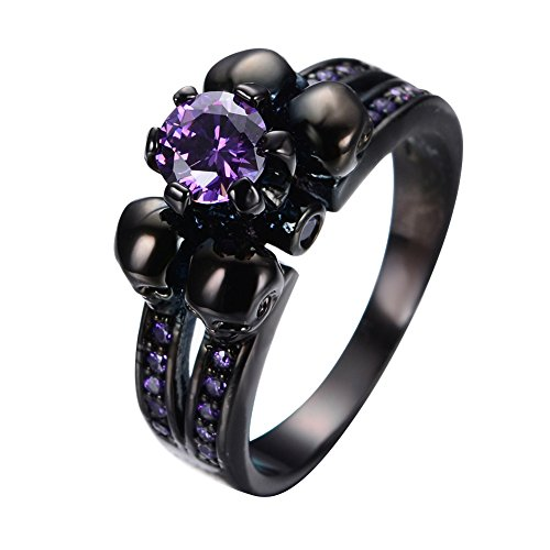 Bamos Jewelry Womens Lab Purple Bright Stone Skulls Black Gold Plated Gift Engagement Wedding Womens Ring Size 8