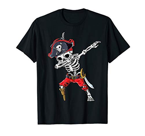 Dabbing Skeleton Pirate T Shirt Halloween Kids Jolly Roger