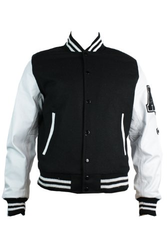 Mens Black College Baseball White Real Leather Arms Bomber Jacket ...
