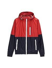 SODIAL(R) Spring Autumn new men's sports jacket hooded Outdoor jacket Men Fashion Thin Windbreaker Zipper Coats Outwear Red XL