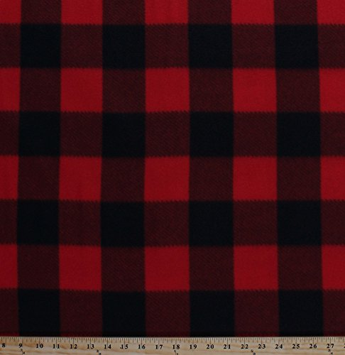Fabric Print Fleece Red - Fleece Red Black Buffalo Plaid Checks Checkered Fleece Fabric Print by The Yard (5057M-12A-red)