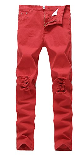 Men's Red Skinny Ripped Slim Fit Stretch Designed Destroyed Denim Jeans Red W34 (Red Skinny Jeans For Men compare prices)