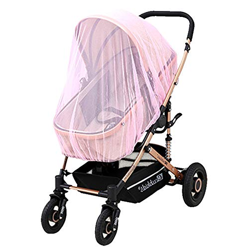 Baby Mosquito Net for Strollers, Carriers, Car Seats, Cradles, Net Cover for Cribs, Bassinets & Playpens Mosquito Repellent, Portable & Durable Baby Insect Netting (Pink)