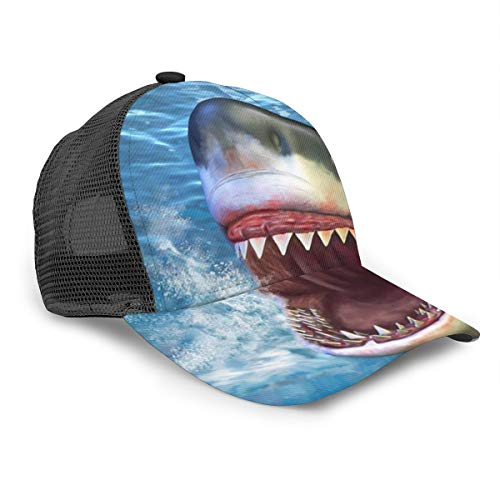 Shark Jumping Out Water Structured Classic Plain Baseball Cap Unisex Hat Adjustable Velcro Max Comfort Black (A Shark Jumping Out Of The Water)