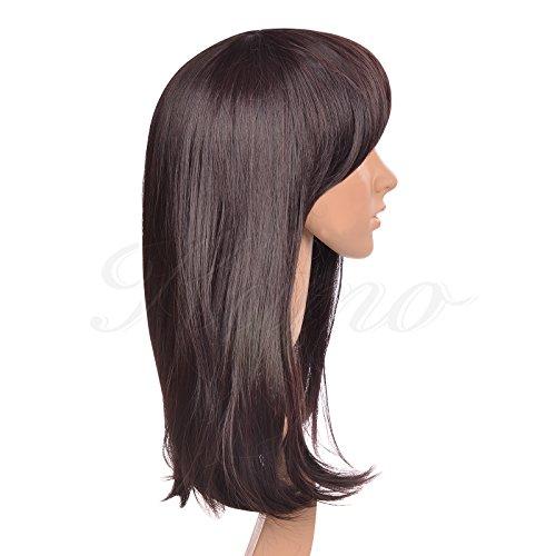 Dark Brown Side-swept Bangs Shoulder-length Women & Girls Cosplay Party Wig