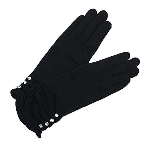 XIKA レディースショートグローブ ウール ラインストーン あったかい シャーリング プリーツ 保温手袋 3色