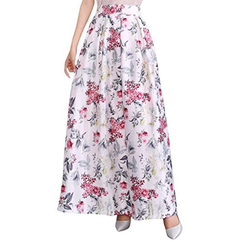 - Sunhusing Ladies Summer Boho Beach Digital Small Floral Print Skirt Large Size Large Swing Pleated Pettiskirt White