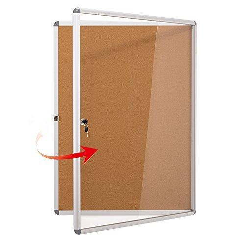 Enclosed Bulletin Board Case (SwanSea Lockable Noticeboard Bulletin Pink Cork Boards Tamper proof with Mounting Screws 26×20 inch (4xA4))