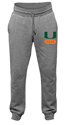NCAA Miami Hurricanes Men's Jogger Cuffed Pants, Large, Dark Oxford