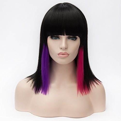 """Price comparison product image GOOACTION 27.5"""" Medium Black Stright Hair Lolita Stand Head Cosplay Wig with Bang Wigs Cosplay Wigs Daily wig Cosplay Costume Wig"""
