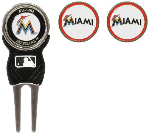 Team Golf MLB Miami Marlins Divot Tool with 3 Golf Ball Markers Pack, Markers are Removable Magnetic Double-Sided Enamel