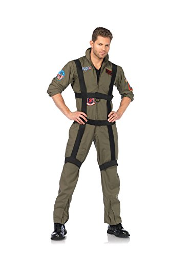 3 PC. Men'e Top Gun Paratrooper Flight Suit - X-Large - - Top Maverick Gun Goose Costume And