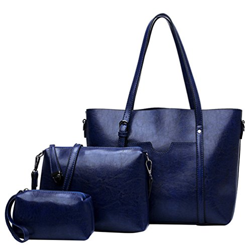 Anguang Cuir Femme Vintage 3 PU Sac Bandoulière en Zippé Pochette à Sac Crossbody Sac Bleu Pièces Soirée rBrcnqWT