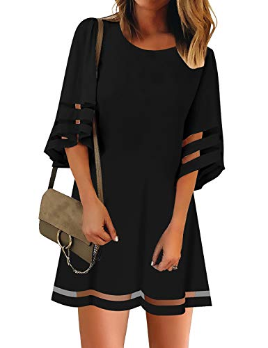 Vetinee Women's Black 3/4 Bell Sleeve Crewneck Mesh Panel A Line Casual Loose Tunic Dress XX-Large (US 20-22)