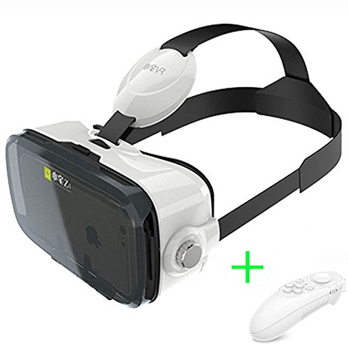 Virtual Reality Headset, BOBOVR Z4 Mini VR 3D Glasses, Xiaozhai VR Goggles, + Bluetooth Remote Controller, Caidishi (White Z4 Mini)