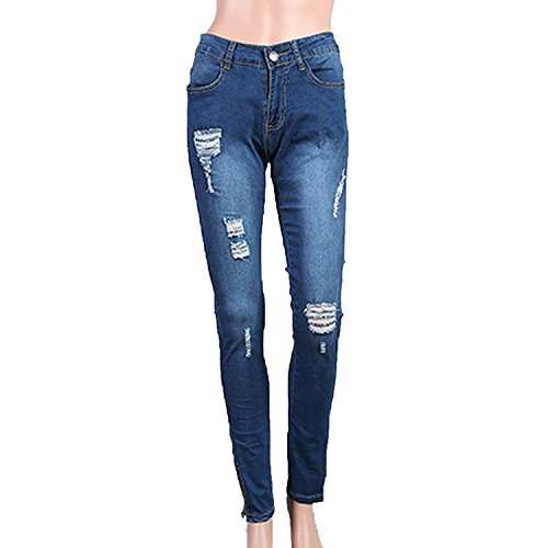 Small-shop Pants Sexy Hole Decoration Womans Casual Pants Women,Blue,S by Small-shop