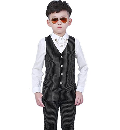 Gele Boy 2 Pieces Fashion Casual Suit,Vest+Pants (4T, Black) by Gele