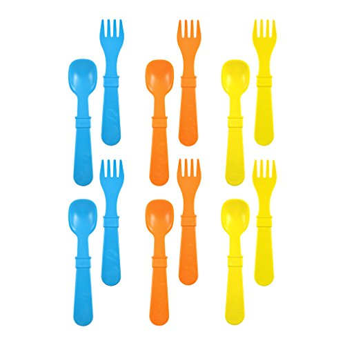 Re-Play Made in USA 12pk Toddler Feeding Utensils Spoon and Fork Set for Easy Baby, Toddler, Child Feeding - Sky Blue, Orange, Yellow (Spring) 6 Spoons/6 Forks