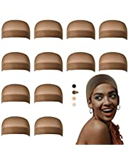 Dreamlover 12 Pack Black/Brown Nylon Wig Caps,Stretchy Stocking/Mesh Net Wig Caps