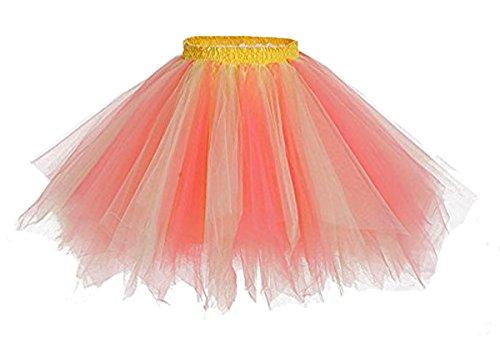 Comall Damen Mädchen Kurz Tutu Unterkleid Rock Petticoat Unterrock Kleid Tüll Wassermelone/Gelb jU6VsX