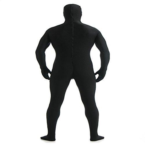 【ノーブランド 品】オープンフェイス 全身タイツ ライクラ タイツの衣装 キャットスーツ スパンデックス スキンタイトツース 全5サイズ9色 - XXL  ブラック