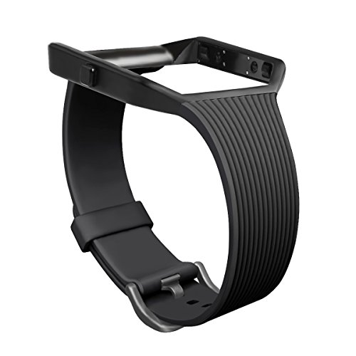 For Fitbit Blaze Slim Bands with Frame, GHIJKL TPU Replacement Sport Strap with Black Frame for Fitbit Blaze Smart Fitness Watch, Large Small, Black