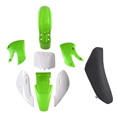 TDPRO Plastic Fairing Kit Fender Parts and Black Seat for Pit Dirt Bike Kawasaki KX 65 KX65 (4Green+3White)