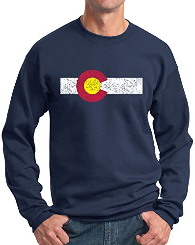 State Flag Sweatshirt (New York Fashion Police Colorado State Flag Sweatshirt Rocky Mountain Pride Crewneck Vintage Navy M)
