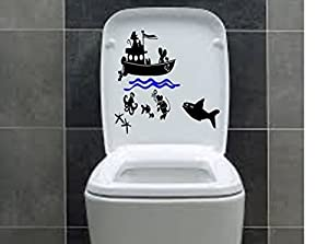"12"" x 8"" Toilet wc mice scuba diving diver shark ocean fishing mouse stickers funny wall high-quality"