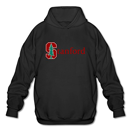 PHOEB Mens Sportswear Drawstring Hooded Sweatshirt,Stanford University S Logo Black XX-Large