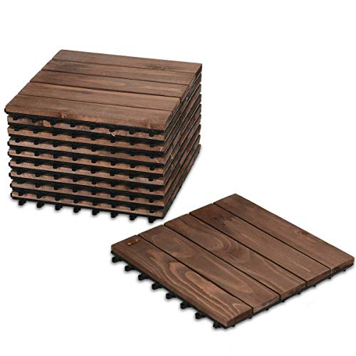 NanaPluz 22Pack Garden Deck Patio Pavers Floor Interlocking Wood Patio Tiles 12″ x 12″ Brown with Ebook