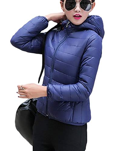 with Down with Hoodie Zips Navy Coat Fitted Solid Mini Blue Warm Energy Womens Color qvtBgg