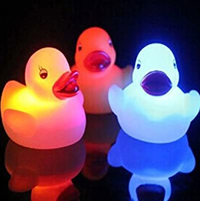 LED Color Changing Floating Duck Night Light Bath Tub Shower Toy For Kids Baby