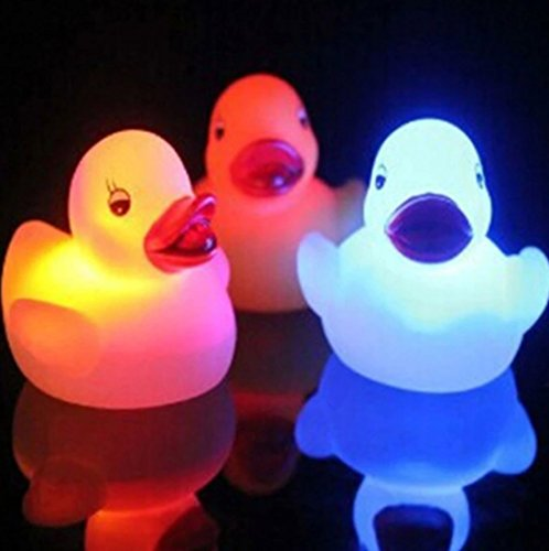 Yellow Ducks Light-Up Bath Toys Flashing Light (3 Pack), Baby Shower Tub Toys Color Changing in Water For Babies Kids