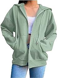 Wirziis Women's Full Zip Up Hoodie Long Sleeve Hooded Sweatshirts Pockets Fall Casual Jacket Coat for Wome