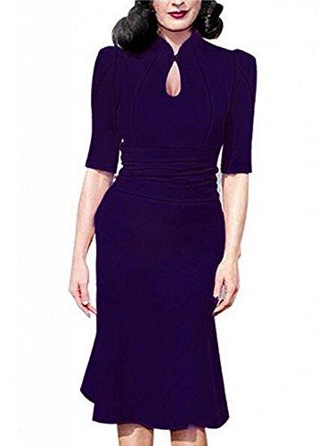 Destinas Women's Vintage Style Retro 1940s Shirtwaist Flared Tea Dress L - For Retro Style Women