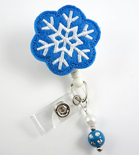 Christmas Blue Snowflake - Nurse Badge Reel - Retractable ID Badge Holder - Nurse Badge - Badge Clip - Badge Reels - Pediatric - RN - Name Badge Holder